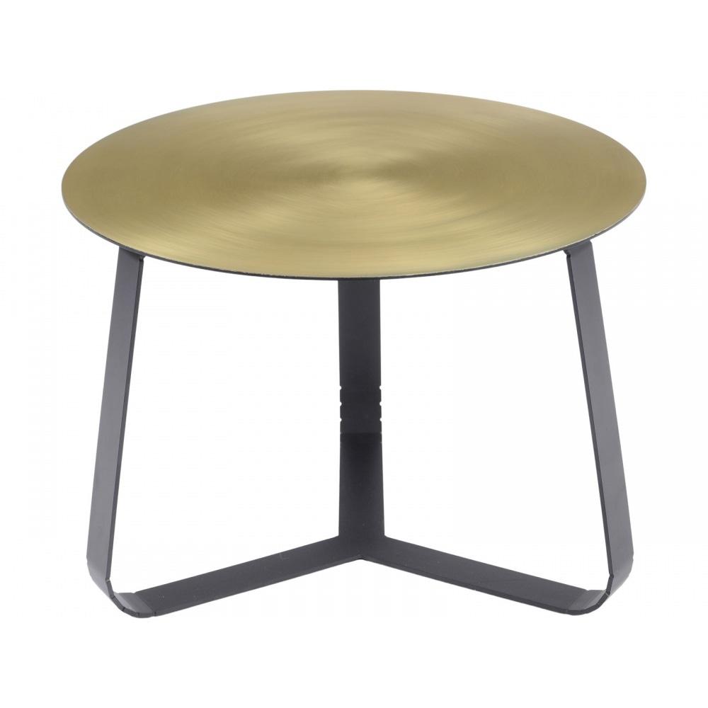 Shiny Brass Small Circular Coffee Table W Black Legs At Fusion Living