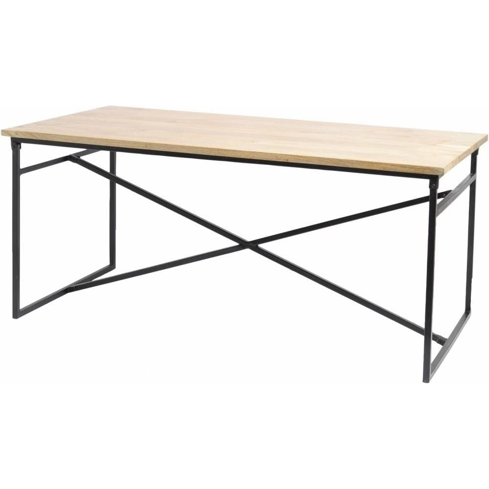 Buy Solid Mango Wood amp Metal Industrial Dining Table at  : libra furniture solid mango wood and metal industrial dining table p1666 9103image from www.fusionliving.co.uk size 1000 x 1000 jpeg 32kB