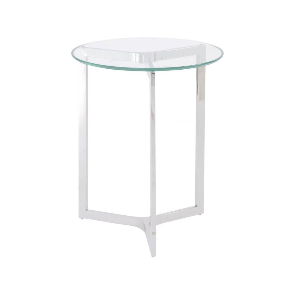 Stainless Steel And Glass Circular Side Table