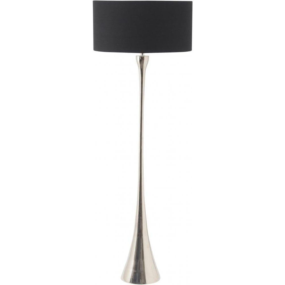 Buy tall sleek nickel floor lamp with black shade from fusion living tall sleek nickel floor lamp with black shade mozeypictures Gallery