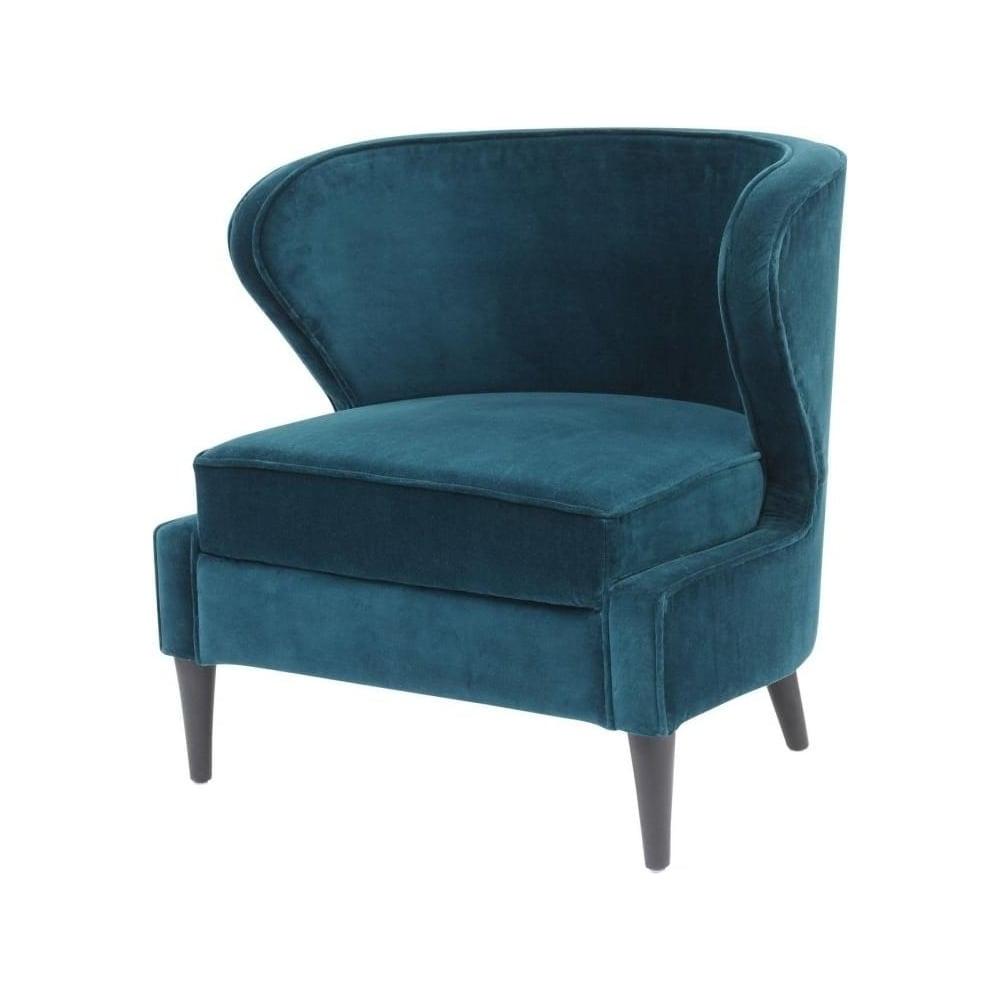 Teal cotton velvet upholstered lounge chair
