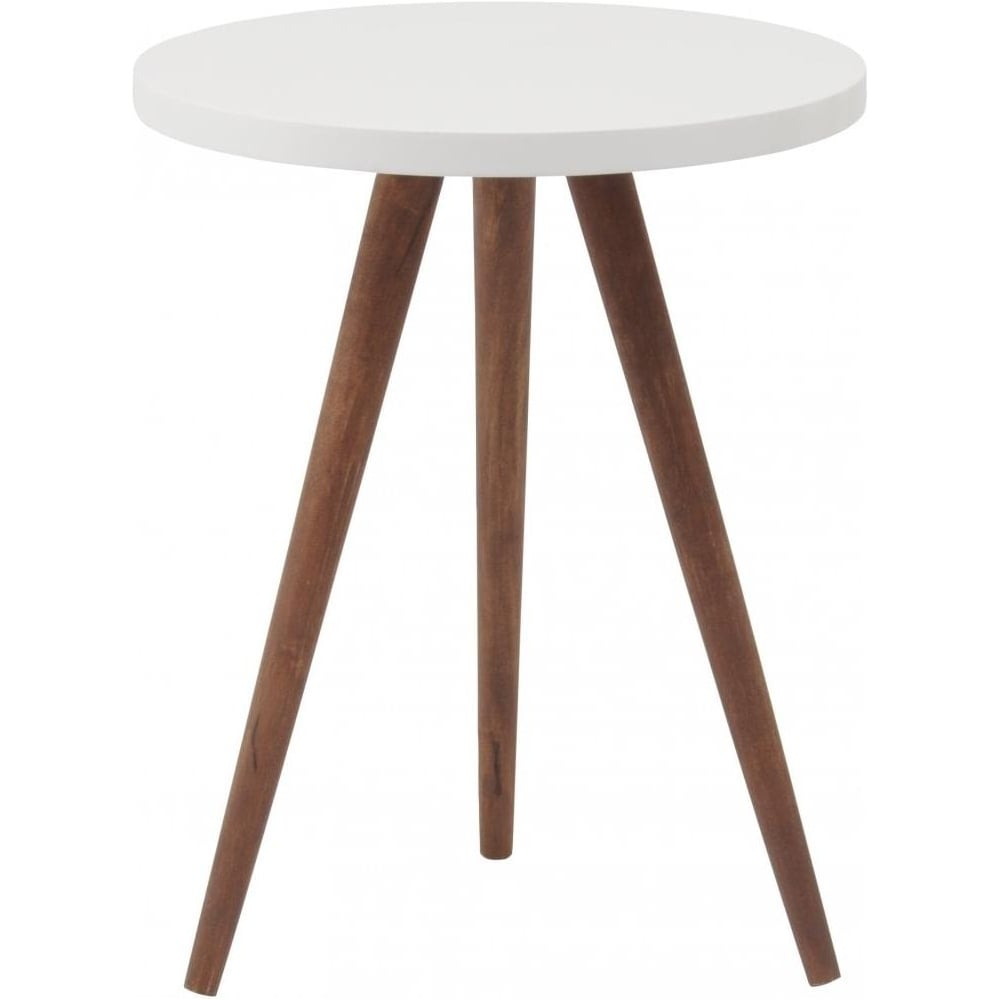 Buy three leg wooden and white side table from fusion living for White end table