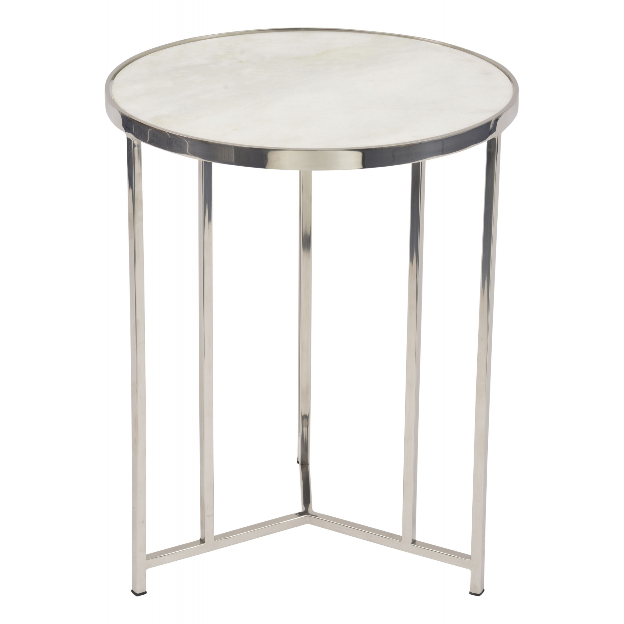 White Marble And Polished Nickel Circular Side Table At Fusion Living