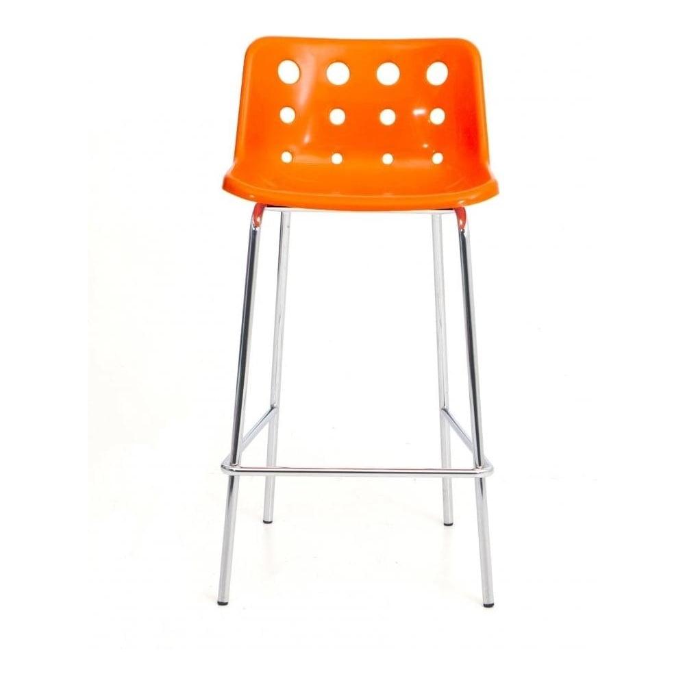 4 leg bright orange plastic polo bar stool