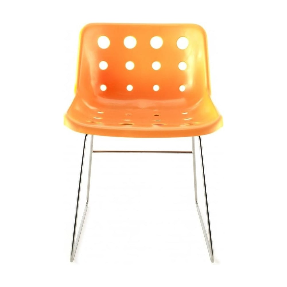 Ordinaire Skid Orange Plastic Polo Chair