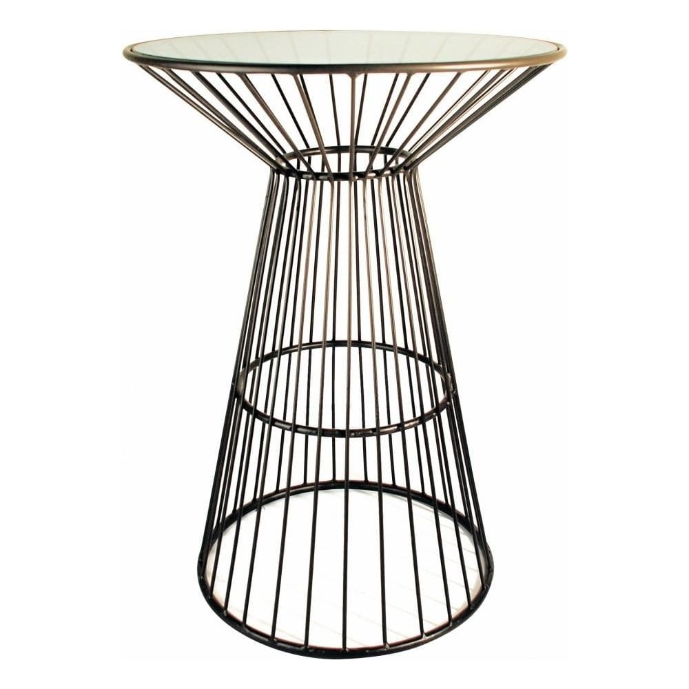 Attractive Metal Cage Style Tall Side Table With Glass Top