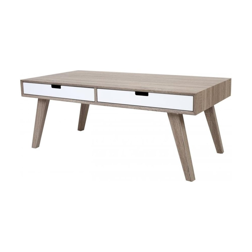 Buy Retro Style Wood And White Veneer Coffee Table From Fusion Living