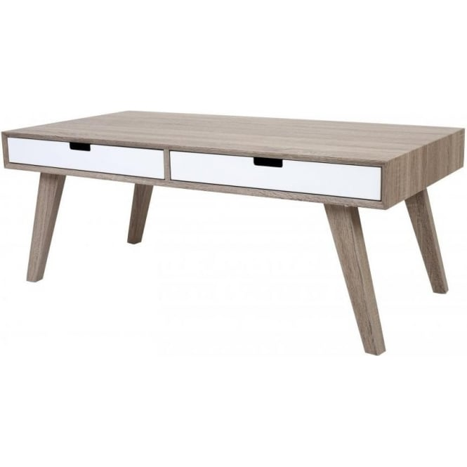 Buy Retro Style Wood And White Veneer Coffee Table From